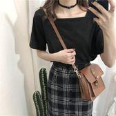 方領T恤方領t恤女短袖夏季新款韓版純黑色修身顯瘦小心機漏鎖骨上衣麥吉良品