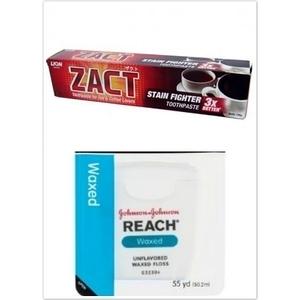 ZACT獅王漬脫牙膏190g*6+REACH 牙線普通(55碼)*3