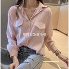 2021春秋裝新款韓版寬鬆白襯衫女設計感小眾上衣中長款T恤小衫潮