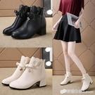 小香風時尚中跟小個子短靴女新款粗跟拉錬學生少女蝴蝶結顯瘦