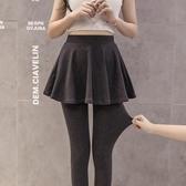 假兩件褲裙 假兩件打底褲女外穿春秋季薄款包臀裙褲大碼九分百褶踩腳顯瘦長褲