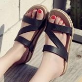 女士一字拖夏季涼拖鞋學生拖鞋沙灘鞋厚底防滑涼鞋細帶女拖鞋外穿 【Ifashion·全店免運】