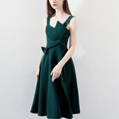 宴會小晚禮服裙女2019新款名媛生日派對連身裙洋裝綠色吊帶中長款Mandyc