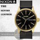 NIXON 實體店THE SENTRY LEATHER腕錶A105-513公司貨/極限運動/黑金/名人佩戴
