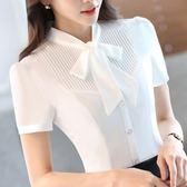 韓版職業白色襯衫女短袖夏季雪紡寬鬆正裝大碼蝴蝶結襯衣2019新款