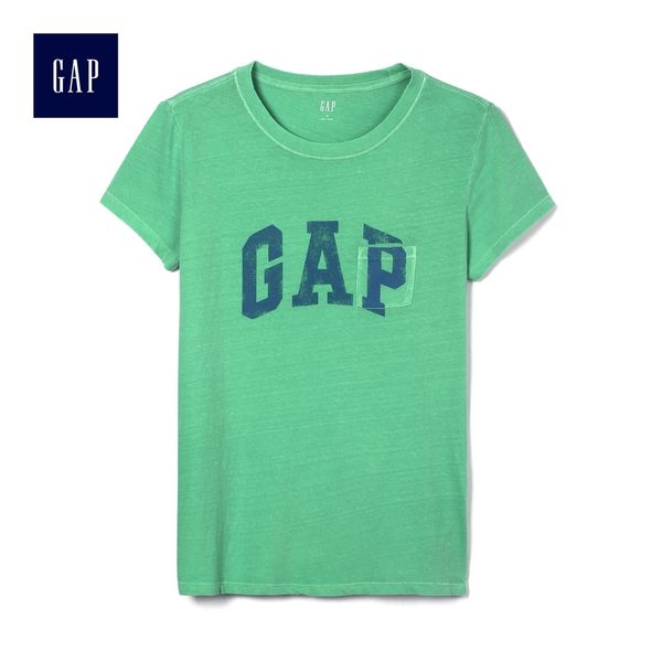 Gap女裝 時尚圓領短袖T恤夏季 女士休閒口袋Logo上衣 468983-牙買加綠色