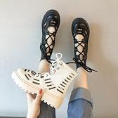 馬丁靴女英倫風透氣夏季2021新款薄款靴子百搭厚底機車短靴帥氣潮 【端午節特惠】