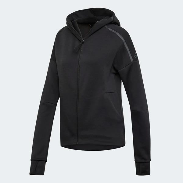 Adidas Z.N.E. FAST RELEASE 女裝 外套 連帽 慢跑 休閒 排汗 黑【運動世界】EJ8748