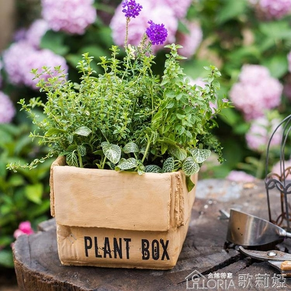 水泥牛皮紙箱花盆花籃花器花盒北歐INS創意種植室內陽臺花園YYJ 歌莉婭
