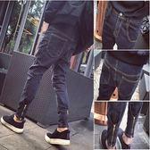 秋季青少年男士牛仔長褲子直筒修身型小腳哈倫褲韓版潮流男褲子-Ifashion