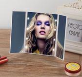LED三折鏡帶燈摺疊梳妝鏡子發光三折化妝鏡 台式便攜鏡子 三面鏡 【限時八五折】