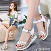 坡跟涼鞋女夏新款鬆糕中跟韓版學生防水臺女鞋厚底高跟涼鞋女   潮流前線