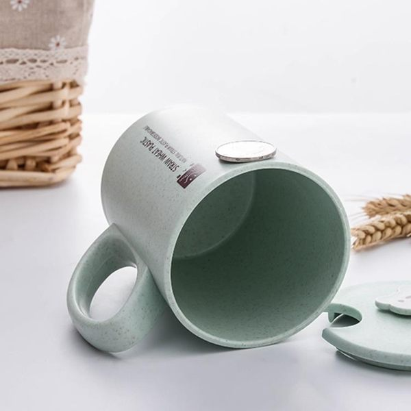 水杯環保可愛熊杯子歐式情侶喝水杯帶蓋帶勺子牛奶咖啡杯【快速出貨】