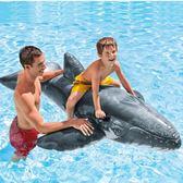 大鯨魚水上充氣兒童游泳圈成人坐騎浮床浮排游泳裝備   遇見生活