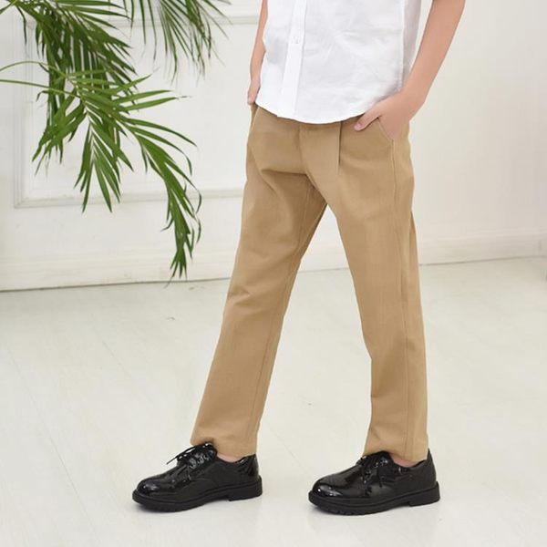 兒童西褲男童棉質卡其休閒 長褲中大童學生演出黑色西裝褲校服褲子