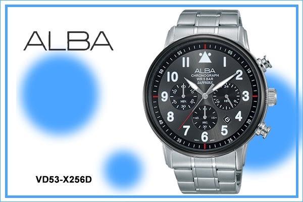 【時間道】[ALBA。錶]劉以豪代言玩轉新世代三眼計時腕錶/黑面(VD53-X256D/AT3A69X1)免運費