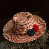 草帽-手工編織平頂帽海邊渡假時尚百搭女遮陽帽2色73si58【巴黎精品】