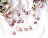 14K包金永生花干花耳環925純銀氣質天然花朵粉色玫瑰真花耳環耳墜 薔薇時尚