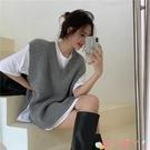 毛衣背心 溫柔風灰色v領馬甲背心針織衫女裝秋季寬鬆毛衣外套2021新款上衣 愛丫 免運