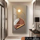 裝飾畫 玄關裝飾畫豎版現代簡約墻畫晶瓷畫輕奢過道走廊壁畫麋鹿客廳掛畫