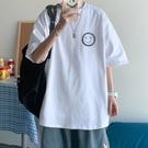 港風t恤男寬鬆衣服男生短袖ins潮牌半袖五分袖潮流韓版上衣bf體恤 黛尼時尚精品