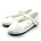 《7+1童鞋》氣質高雅 溫柔山茶花 娃娃鞋 公主鞋  D624  白色