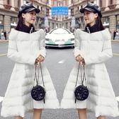 棉服女 2019年冬季新款羽絨棉服女中長款韓版修身顯瘦甜美裙擺不規則棉服