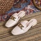 拖鞋女外穿2021年春季新款ins時尚百搭韓版網紅粗跟包頭半拖鞋女 快速出貨