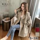 【QV3266】魔衣子-純色收腰雙排扣風衣大衣外套