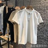 夏季新款小翻領POLO衫棉麻修身半袖時尚小衫亞麻短袖T恤潮男 凱斯頓3C