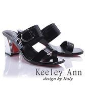 ★2018春夏★Keeley Ann極簡率性~亮澤D字環釦真皮晶鑽中跟拖鞋(黑色) -Ann系列