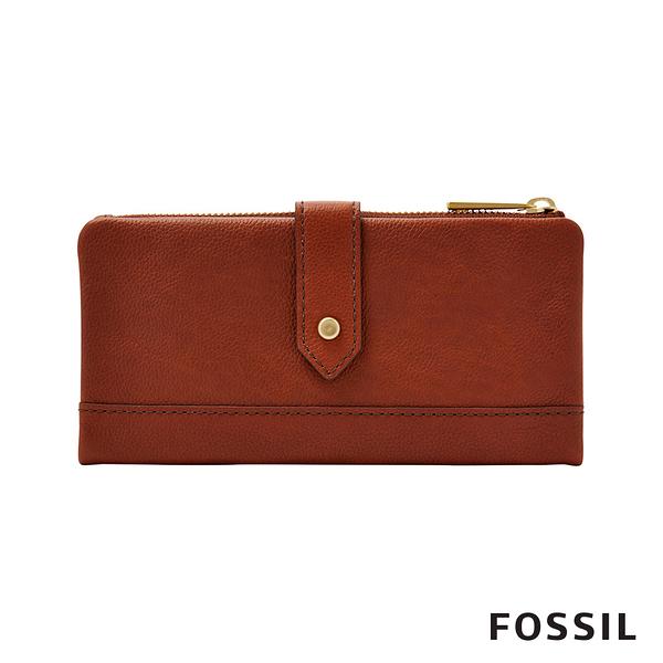 FOSSIL LAINIE 金釦設計真皮實用拉鍊長夾-咖啡色 SWL2060210