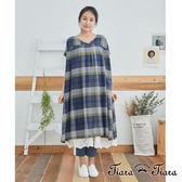 【Tiara Tiara】百貨同步 格紋/點點純棉寬版洋裝(藍格紋/黃格紋/黑點點)