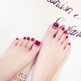 Temix假腳甲貼片可穿戴美甲酒紅色 帶鑚腳趾甲指甲24片送果凍背膠 夢幻衣都