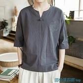 唐裝 夏季亞麻V領短袖T恤男薄款棉麻上衣服中國風唐裝體恤寬松半袖男裝 快速出貨