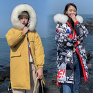 【GZ81】長版外套 羽絨棉服雙面穿韓版中長款寬鬆大碼加厚大毛領棉衣外套