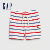 Gap 男嬰 舒適撞色條紋休閒短褲 576998-光感亮白
