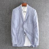 亞麻西服男士青年修身上衣春秋季商務休閒純色棉麻單西外套男