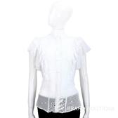 PHILOSOPHY 白色縷空織花拼接荷葉袖排釦上衣 1620147-20