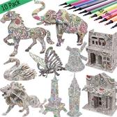 3D立體拼圖 兒童DIY手工涂鴉拼插玩具動物昆蟲模型擺件