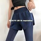 瑜伽褲女健身長褲高腰提臀彈力緊身收腹跑步訓練外穿假兩件運動褲【探索者戶外生活館】