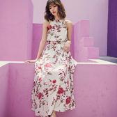 梨卡 -波西米亞泰國度假性感印花繞頸刺繡縮腰開叉連身裙連身長裙沙灘裙洋裝C6316