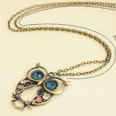 ♥巨安網購♥【LE252】簍空雕花貓頭鷹項鍊