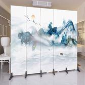 屏風 屏風裝飾隔斷牆客廳酒店辦公室現代簡約折疊中式行動折屏實木布藝【快速出貨】