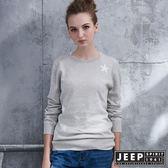 【JEEP】女裝 創意異材質拼接星星長袖針織衫  (灰色)