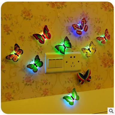 Star - 其他類  - 創意七彩蝴蝶可粘貼小夜燈 裝飾蝴蝶夜燈 寶寶床頭燈 -F118