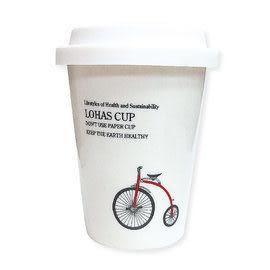 Bella House 雙層隔熱陶瓷杯280ml (1入) 馬克杯 隔熱杯 骨瓷杯 隨手杯 雙層杯 咖啡杯 矽膠隔熱杯套