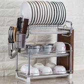 廚房用品置物架三層大容量瀝水架碗架碗筷收納盒刀架晾放碗碟盤架WY【快速出貨八折優惠】
