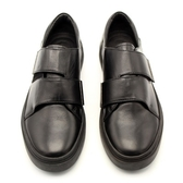 真皮皮鞋-交叉魔術貼厚底街頭時尚輕便百搭男休閒鞋2色73kv17【巴黎精品】