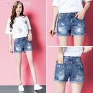 21夏季新款牛仔短褲女韓版高腰寬鬆破洞學生百搭大碼闊腿熱褲潮 快速出貨